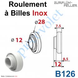 B126 Roulement à Billes inox à Cage en Polyacéthal ø Ext 28 - ø Int 12 Ep 12 mm