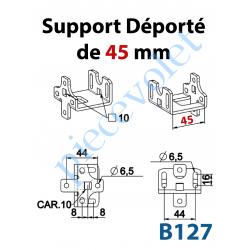 B127 Support Déporté de 45 mm Percé à Entre-axes 44mm et en Carré de 10mm Sans visserie