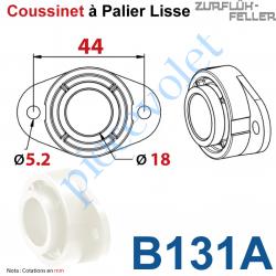 B131A Coussinet Palier Lisse Av 2 Tr ø5,2 Entr'axes 44 øInt 18 Ep 16 Polyoxyméthylène