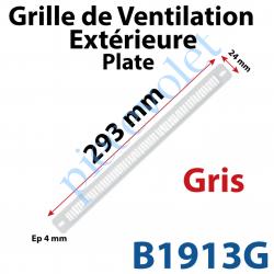B1913G Grille de Ventilation Extérieure 30 m³/h Plate Nicoll 293 x 24 x 4 Coloris Gris Clair