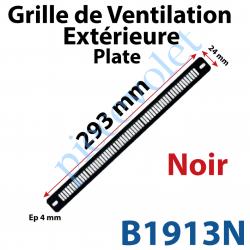 B1913N Grille de Ventilation Extérieure 30 m³/h Plate Nicoll 293 x 24 x 4 Coloris Noir