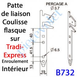B732 Patte Tradi Express Enroulement Intérieur Acier Galvanisé 30/10 Largeur 19 mm