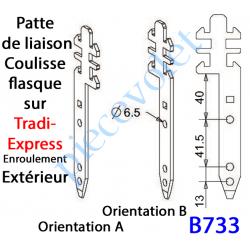 B733 Patte Tradi Express Enroulement Extérieur Acier Galvanisé 30/10 Largeur 19 mm