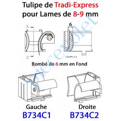 B734C1 Tulipe Tradi Express Gauche pour Lame de 8 à 11 mm Bombé de 6 mm en Fond Coloris Beige