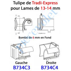 B734C3 Tulipe Tradi Express Gauche pour Lame de 13 à 14 mm Bombé de 6 mm en Fond Coloris Noir