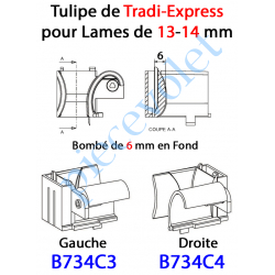 B734C4 Tulipe Tradi Express Droite pour Lame de 13 à 14 mm Bombé de 6 mm en Fond Coloris Noir