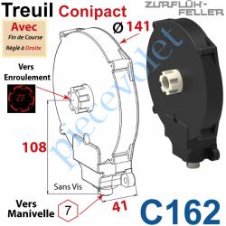 C162 Treuil  Conipact Entrée Hexa 7 Femelle Sortie Crabot Zf Mâle Avec FdC Réglé à Droite Sans Vis