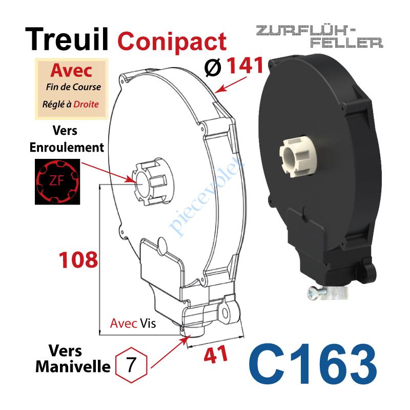 C163 Treuil  Conipact Entrée Hexa 7 Femelle Sortie Crabot Zf Mâle Avec FdC Réglé à Droite Avec Vis