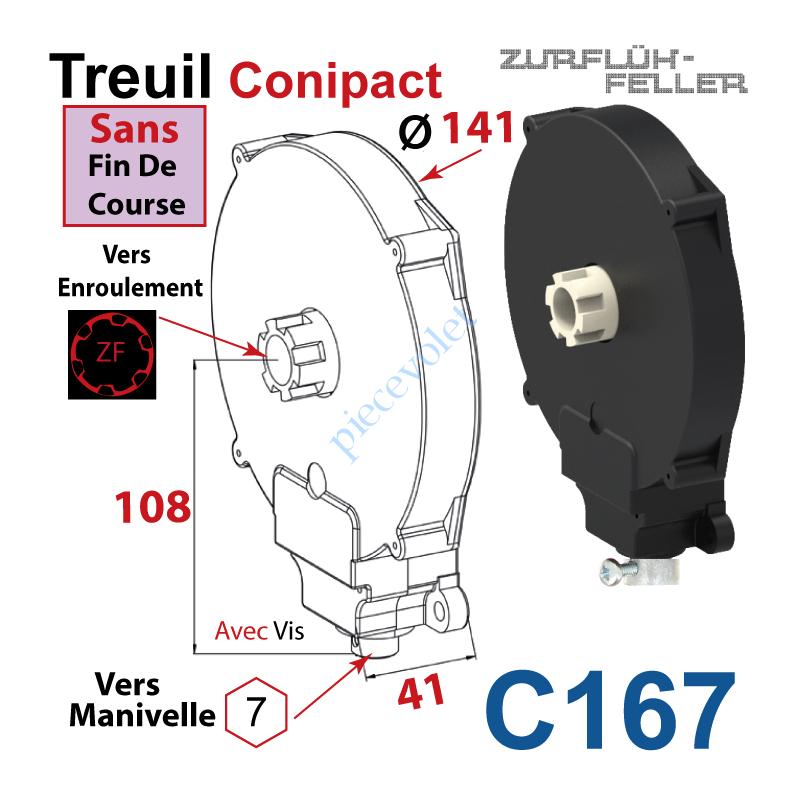 C167 Treuil Conipact Entrée Hexa 7 Femelle Sortie Crabot Zf Mâle Sans FdC Avec Vis