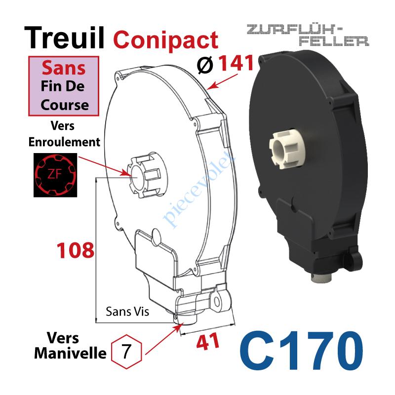 C170 Treuil  Conipact Entrée Hexa 7 Femelle Sortie Crabot Zf Mâle Sans FdC Sans Vis