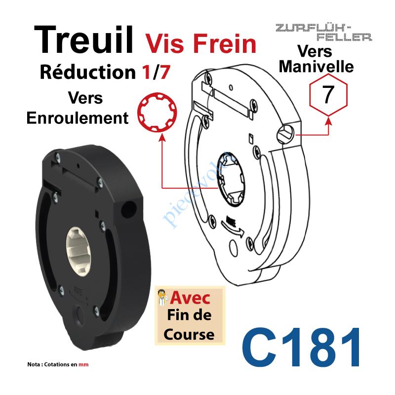 C181 Treuil Vis Frein Réd 1/7 Entrée Hexa 7 Femelle Sortie Crabot Zf Femelle