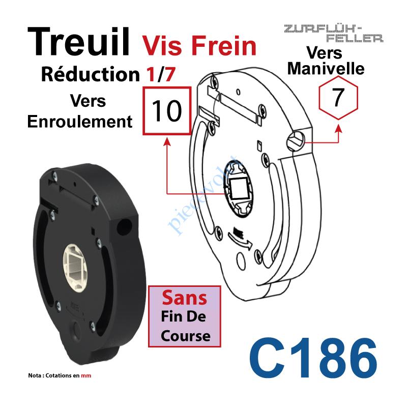 C186 Treuil Vis Frein Réd 1/7 Entrée Hexa 7 Femelle Sortie Carré 10 Femelle