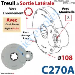 C270A Treuil à Sortie Latérale Ent Carré 8 Fem Sort Crabot