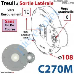 C270M Treuil à Sortie Latérale Ent Carré 8 Fem Sort Carré 10 Fem Plots Ht 1 mm Ss FdC