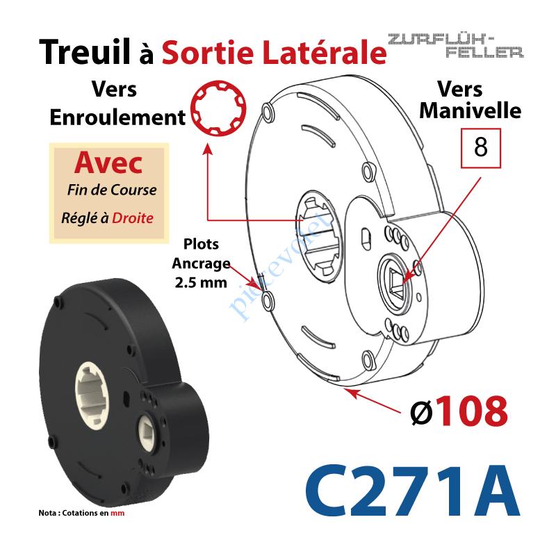 C271A Treuil à Sortie Latérale Ent Carré 8 Fem Sort Crab Zf Fem Plots 2,5 mm Av FdC Dr