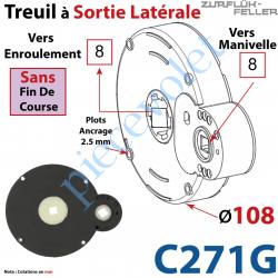 C271G Treuil à Sortie Latérale Ent Carré 8 Fem Sort Carré 8 Fem Plots 2,5 mm Ss FdC