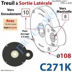 C271K Treuil à Sortie Latérale Ent Carré 8 Fem Sort Carré 10 Fem Plots 2,5 mm Av FdC Ga