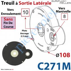C271M Treuil à Sortie Latérale Ent Carré 8 Fem Sort Carré 10 Fem Plots 2,5 mm Ss FdC1