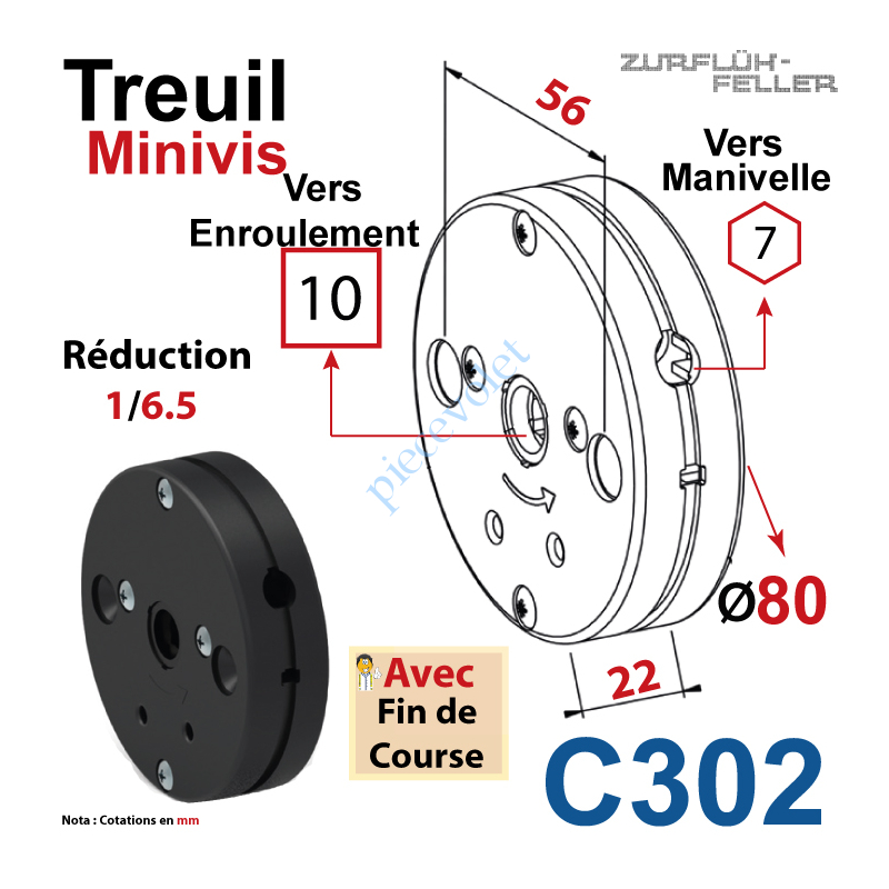 C302 Treuil Minivis Réd 1/6,5 Entrée Hexa 7 Femelle Sortie Carré10 Femelle Av FdC Ep 22