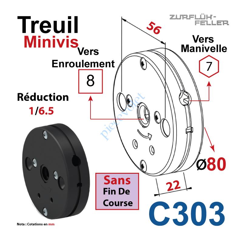 C303 Treuil Minivis Réd 1/6,5 Entrée Hexa 7 Femelle Sortie Carré 8 Femelle Ss FdC Ep 22