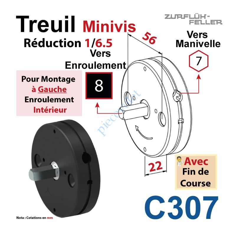C307 Treuil Minivis Réd 1/6,5 Rég à Ga Ent Hex 7 Fem Sor Carré 8 Mâl Lg 23 Av FdC Ep 22