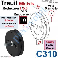 C310 Treuil Minivis Réd 1/6,5 Ent Hexa 7 Femelle Sor Carr 10 Mâle Lg 23 mm Ss FdC Ep 22