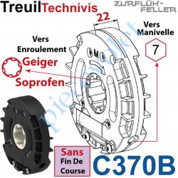 C370B Treuil Technivis Débrayable Entrée Hexa7 Femelle Sortie Crabot 16-20 Soprofen Femelle Sans FdC