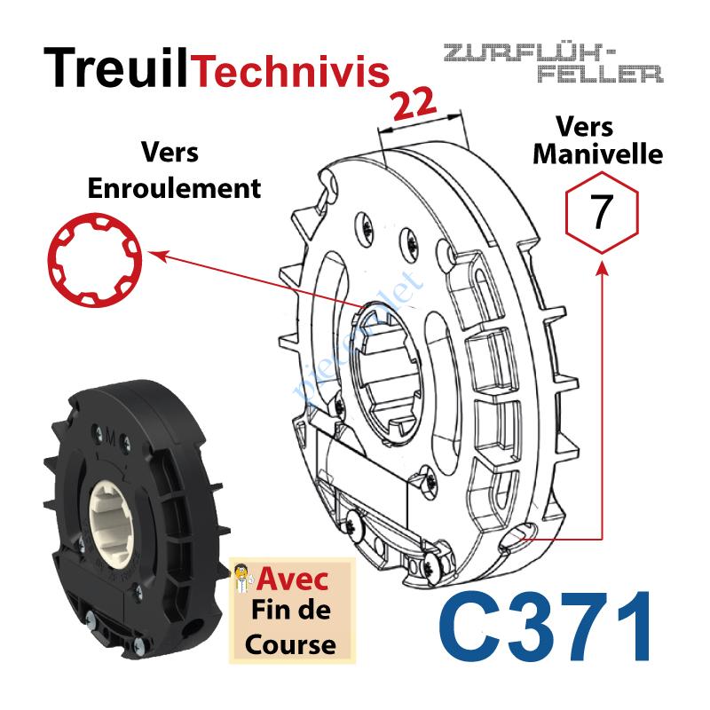 C371 Treuil Technivis Débrayable Entrée Hexa7 Femelle Sortie Crabot Zf 22-27 Femelle Avec FdC