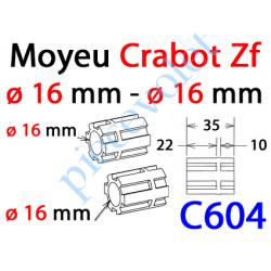 C604 Moyeu à Crabot Zf Mâle - Crabot Zf Mâle Alésé ø 16,5 mm Femelle