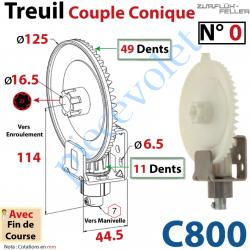 C800 Treuil Couple Cônique n° 0 Entrée Hexa 7 Femelle Sortie Crabot Zf Mâle Avec FdC