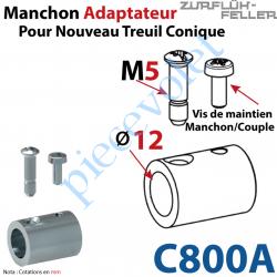 C800A Manchon Adaptateur Nouveau Couple Cônique ø 15,5 mm ø 12 mm Avec Visserie