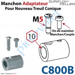C800B Manchon Adaptateur Nouveau Couple Cônique ø 15,5 mm  Hexa 10 Avec Visserie
