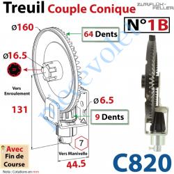 C820 Treuil Couple Cônique n° 1 Bis Entrée Hexa7 Femelle Sortie Crabot Zf Mâle