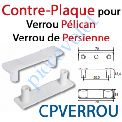 CPVERROU Contre-Plaque pour Verrou Pélican ou de Persienne en Pvc Gris Clair (Paire)