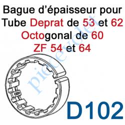D102 Bague d'épaisseur Ouverte pour augmenter le diamètre des tubes Deprat de 53 et 62, ZF de 54 et 64 et Octo 60