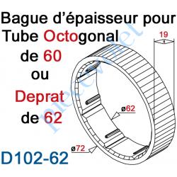 D102-62 Bague d'épaisseur pour augmenter le diamètre du tube Octo 60 ou Deprat 62 à 72 mm