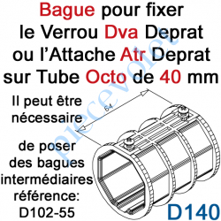 D140 Bague de Verrou Automatique Dvr ou d'Attache Atr pour tube Octo 40