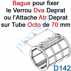 D142 Bague de Verrou Automatique Dvr ou d'Attache Atr pour tube Octo 70