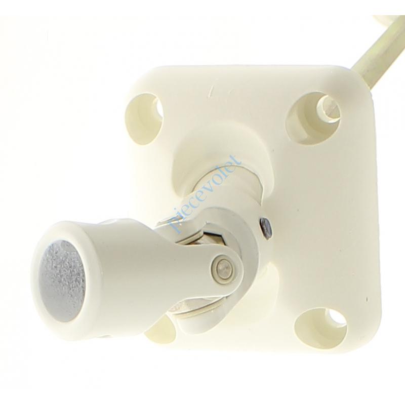 D174NG Sortie Bloc-Guide 45° Platine 44x50 Genouillère ø12 Femelle-Hexa7 lg 315 Avec Vis Coloris Blanc