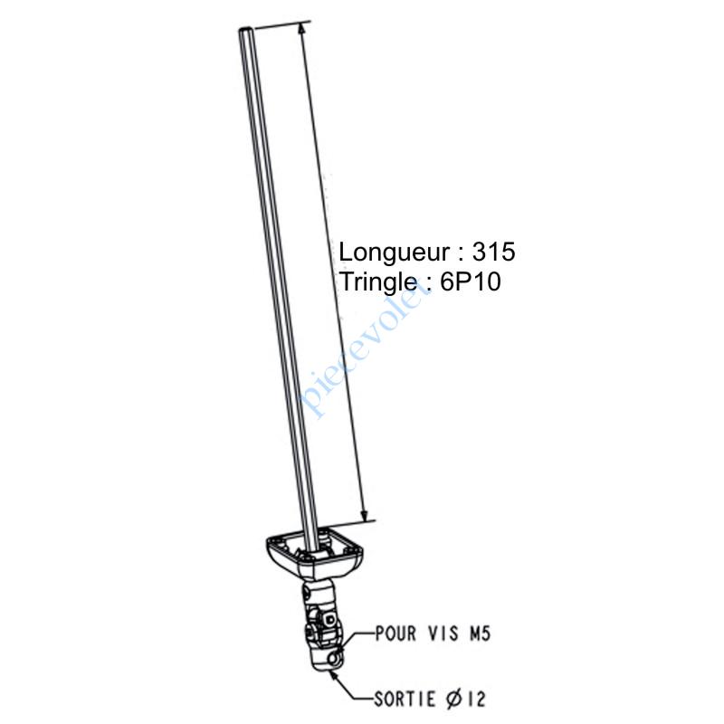 D192NG Sortie Bloc-Guide 45° Platine 44x50 Genouillère ø12 Femelle-Hexa10 lg 315 Avec Vis Coloris Blanc