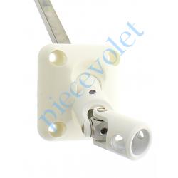 D210NG Sortie Bloc-Guide 45° Platine 44x50 Genouillère ø12 Femelle-Carré 8 lg 315 Avec Vis Coloris Blanc