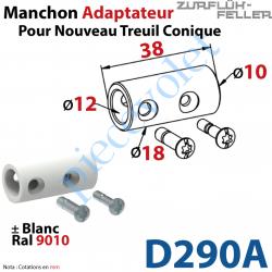 D290A Manchon Rond ø 12 Avec Vis M5 - Rond ø 10 Avec Vis M4 Laqué Blanc