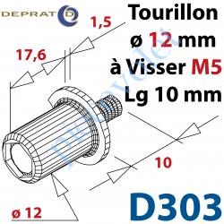 D303 Tourillon diamètre 12mm Longueur 17,6mm Avec Collerette diamètre 18mm et Tige Filetée M5 Longueur 10mm