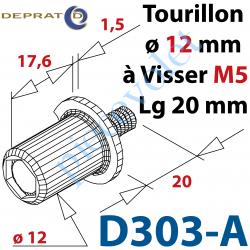 D303-A Tourillon diamètre 12mm Longueur 17,6mm Avec Collerette diamètre 18mm et Tige Filetée M5 Longueur 20mm