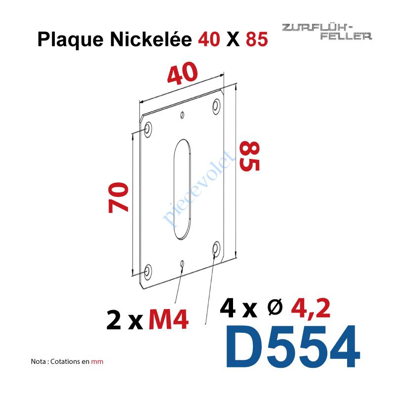 D554 Plaque 40 x 85 mm Nickelée pour Elargir les Fixations des Sorties à 90°