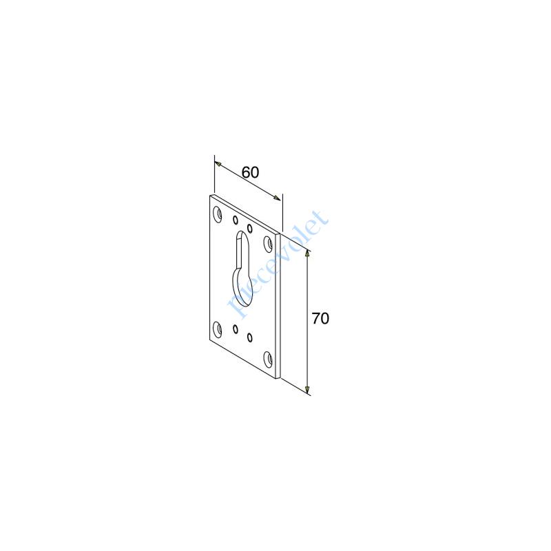 D559A Plaque de Reprise Bloc-guide Genouillère à 60° Larg 60 x Haut 70 Coloris Blanc