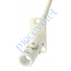 D760NG Sortie Mini Bloc-Guide 45° Platine 22x45 Genouillère ø12 Femelle-Hexa7 lg 170 Avec Vis Coloris Blanc