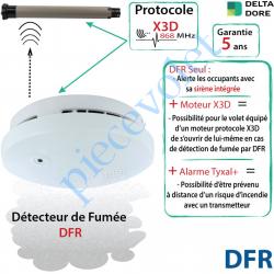 DFR Détecteur de Fumée DFR Radio X3D Coloris Blanc pour Alarme Delta Dore Tyxal +