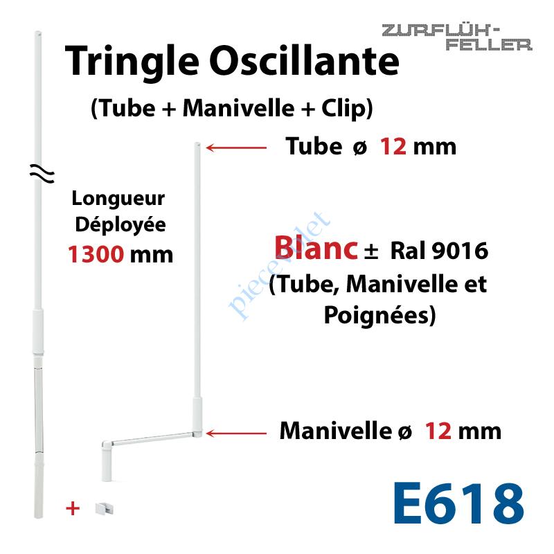 E618 Tringle Oscillante Lg 1300 Blanche avec Manivelle
