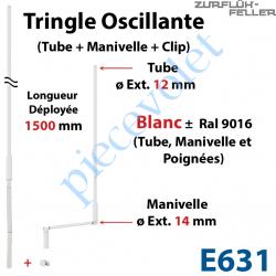 E631 Tringle Oscillante Lg 1500 Blanche avec Manivelle